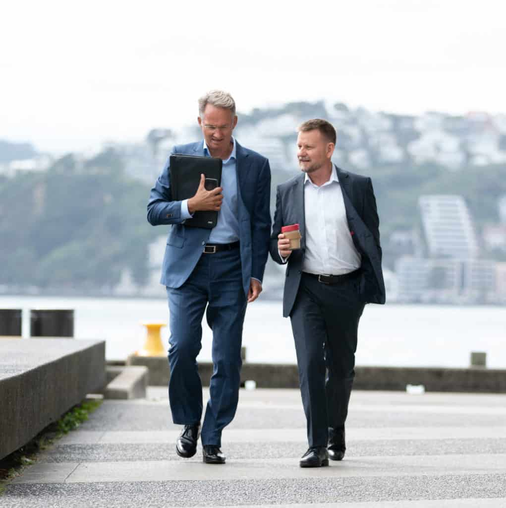 Grant and Guy return from a meeting on Wellington's waterfront